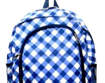 Gingham Checkered Print Monogrammed School Backpack Blue and White with Navy Blue Trim