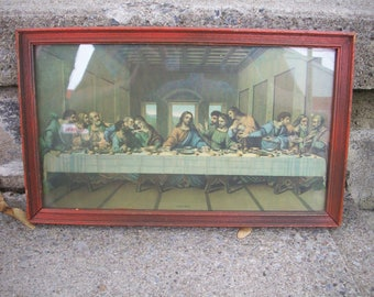 The Last Supper Print published by Borin, Wooden framed religious art, Antique Wood frame with Jesus and his disciples, Vintage wall hanging