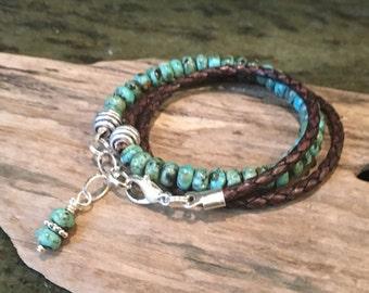 Leather Turquoise Wrap, Leather Bracelet, Turquoise gemstones, Triple Wrap, Custom, Braided Leather, Natural Gemstones