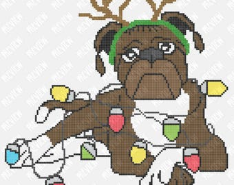 Christmas Boxer Dog - Lights -  Counted Cross Stitch PDF Pattern - Instant Download