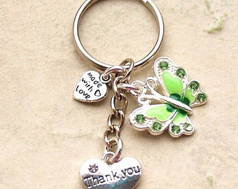 Thank You Gift - Green Butterfly Keyring New Bag Charm LB13