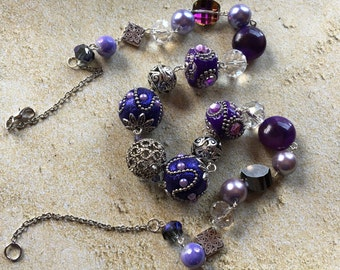Purple Statement Necklace, Glass Necklace, Necklace, Beaded Necklace, Beadwork Necklace, Gift For Her