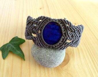 Lapis lazuli macrame bracelet, macrame stone, gemstone bracelet, macrame jewelry, tribal bracelet, lapis lazuli jewelry, gypsy bracelet