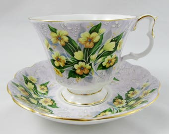 """Royal Albert Festival Series """"Adelphi"""" Purple Tea Cup and Saucer with Yellow Flowers, Vintage Bone China"""
