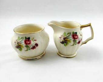 Sadler Floral Cream and Sugar Set, Vintage Sadler Cream and Sugar with Flowers, Made in England