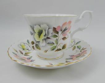 Royal Albert Tea Cup and Saucer with Flowers, Montrose Shape, Vintage Tea Cup, English Bone China, Teacup