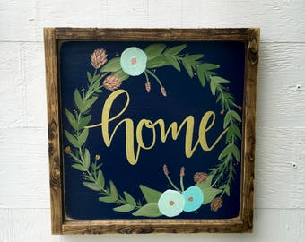 "Home Floral Wood Sign Wall Art - 13.5"" x 13.5"" - Hand Painted"