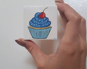 Little Cupcake Painting, Cupcake Art, Blue Cupcake, Cupcake With Cherry, Cute Cupcake, Birthday Cake Gift, Cupcake Blue Frosting, Tiny Art