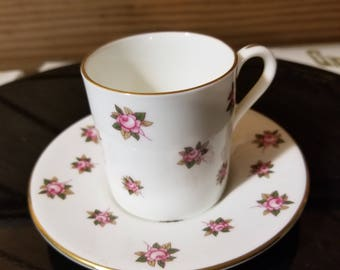 White with Pink Floral Demitasse Cup and Saucer made for the Danbury Mint