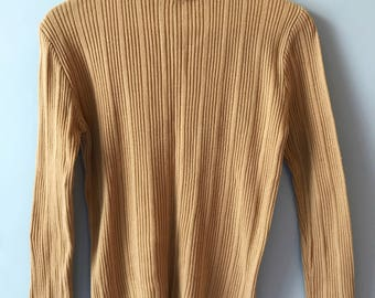 Vintage Camel Color Ribbed Sweater