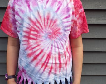 Girls Tiedye Fringe Tee, Kids Large Tie-dye Tshirt with fringes for the tween hippie, Kids Boho Clothes, Girls Hippie Fringed T-Shirt
