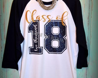 Class of 2018|Senior|Graduation|3/4 sleeve raglan t-shirt