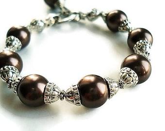 Gemstone Bracelet Pearl Jewelry Brown Bracelet Statement Jewelry Silver Bracelet Brown Jewelry Bohemian Bracelet Gemstone Jewelry Gift Idea