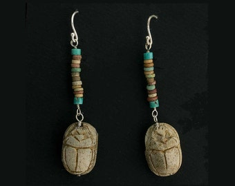 Antique Egyptian steatite scarab amulet beads with ancient Egyptian faience bead earrings. erbd151(e)
