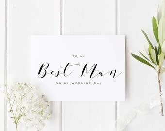 To My Best Man Card, Best Man Wedding Card, Thank You Best Man, Thankyou Groomsman Card, Wedding Thank You Card, To My Best Man Wedding Day