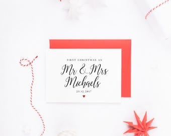 First Christmas As Mr & Mrs, Personalised Christmas Card, Mr And Mrs Christmas Card, Christmas Card Wife, Card Husband, First Christmas Card