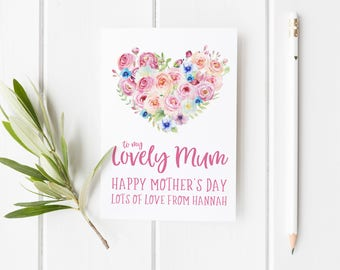 To My Lovely Mum Card, Personalized Mothers Day Card, Pretty Mother's Day Card, Floral Card For Mum, Custom Mother's Day Card, Birthday Card