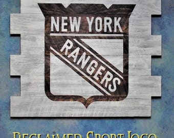 New York Rangers Hockey ~ WhiteWash ~ , Burnt wall hanging, 30X23, Shou Sugi Ban, Sports sign, Man cave, Rustic, Pallets, Wood Sports sign