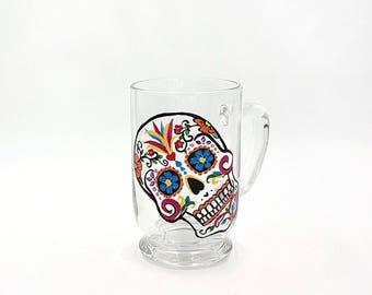 Hand Painted Sugar Skull Glass Mug Dia de los Muertos Coffee Mug Day of the Dead