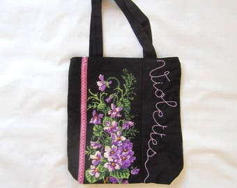 zippered canvas multi-pocket bag decorated with a  vintage handmade tapestry,bouquet of violets