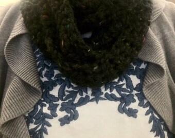 Black Tweed Crocheted Infinity Scarf