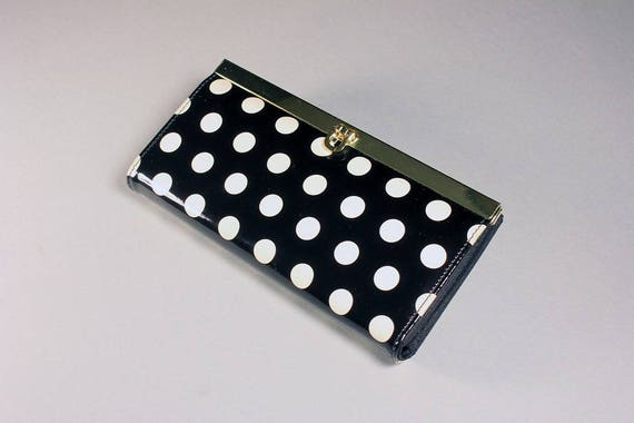 Ladies Polka Dot Wallet, Faux Patent Leather, Black and White,  Clutch Purse