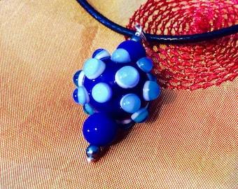 Handmade Lampwork Glass Bead Pendant on Cord