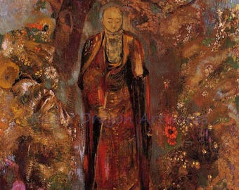 "Odilon Redon ""Buddha Walking Among the Flowers"" 1905  Reproduction Print Buddhism India Buddha Flowers Flower Garden"