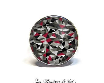 Adjustable ring with cabochon 18 mm * geometric * (121216)