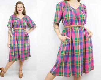 Vintage 90's Rainbow Plaid Dress / 1990's Cotton Tent Dress / Women;s Size Medium/Large