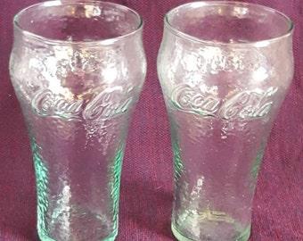 Set of 2 CocaCola 16oz Glasss, Coke Glasses, Green Coca Cola Glassware
