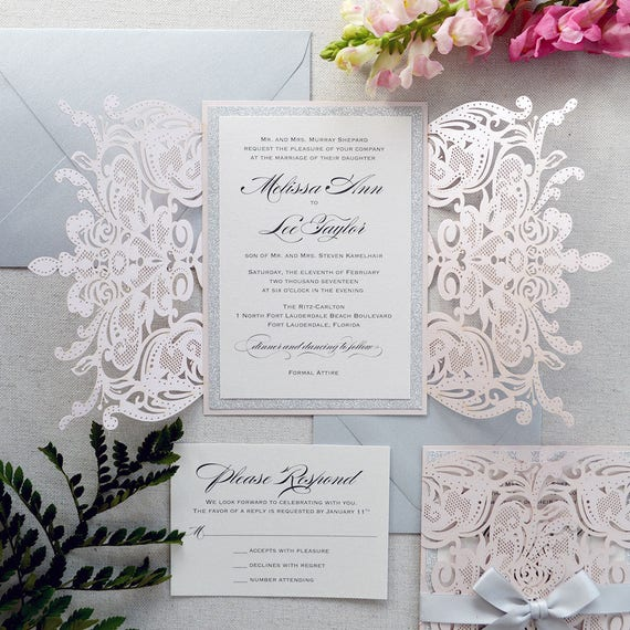 MELISSA SILVER GLITTER-Blush Laser Cut Wedding Invitation with Silver Glitter and Silver Satin Bow - Elegant Laser Cut Invite -Custom Colors