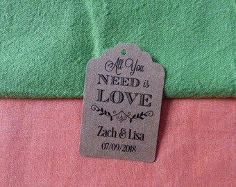 KRAFT, All you need is Love, Wedding Favor Tags, Wedding Tags. Tags. Custom Tags. Thank you tags. Set of 25 to 300 pieces