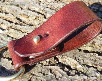 Leather Belt Loop for Keys/Sheath - Medium Brown
