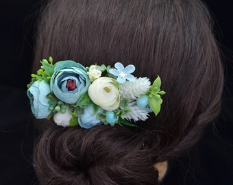 Gift/for/sister Ivory hair comb Bridal hair accessories Blue wedding hair comb Bridesmaid hair comb Rustic wedding accessories Flower comb