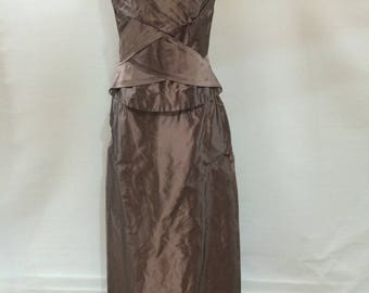 Vintage 90s Monsoon silk evening skirt with corset top pink taupe size medium