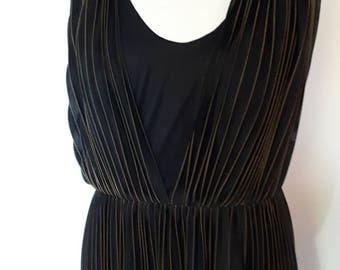 Vintage evening maxi dress 60s Clipriccio Black full length pleated Dress with gold stripe Size large with metallic thread
