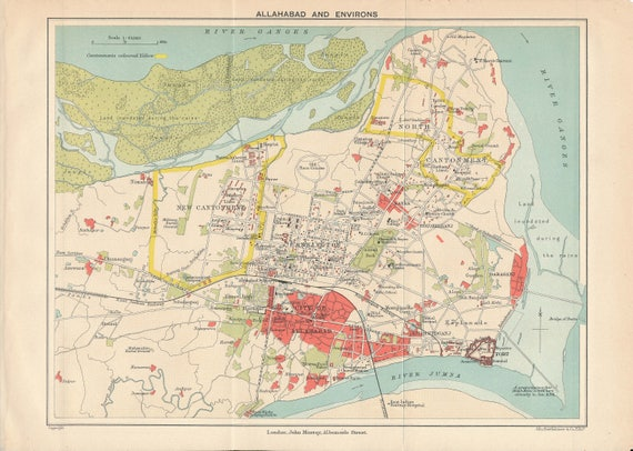 Allahabad India Antique Map - Allahabad map