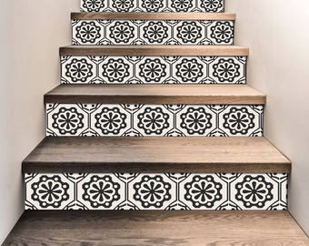 "Stair Riser Stickers - Removable Stair Riser Tile Decals - Testino Pack of 6 in Black - Peel & Stick Stair Riser Deco Strips - 48"" long"