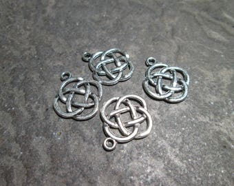 Irish Celtic Knot Charms Package of 4 charms Love Knot charms perfect for adjustable bangle bracelets