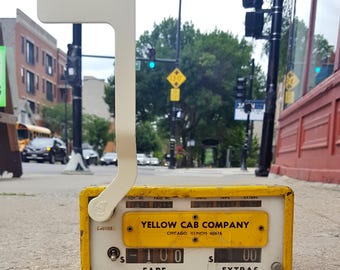 Vintage Chicago Yellow Cab Taxi Fare Box Meter (Untested)