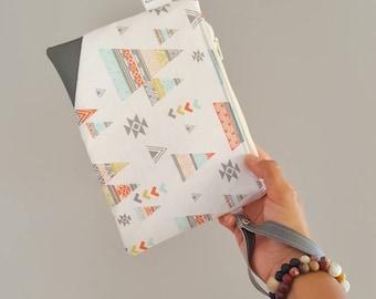 Tent wristlet  zipper pouch