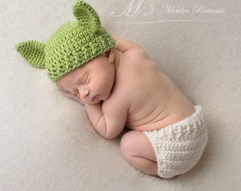 Baby Yoda Outfit   Yoda Hat   Yoda Costume   Yoda Baby   Star Wars Baby   Yoda Photo Prop    Star Wars Nursery   Crochet Yoda Hat