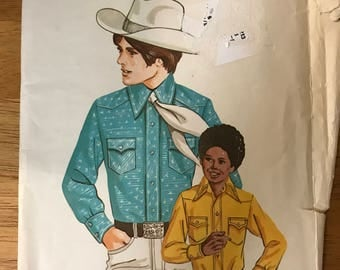 Kwik Sew 493 - Boy's Western Shirt with Wide Pointed Collar - Size Chest 30 31 33 34