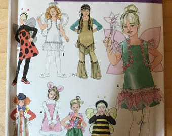 Simplicity 3654 - Girl's Costume Collection with Ladybug, Angel, Indian, Fairy, Bee, Clown, Bunny, and Hula Girl - Size 3 4 56 7 8