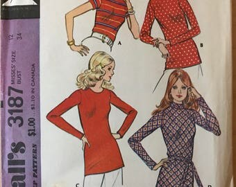 McCalls 3187 - 1970s Stretch Knit Tops with Back Zipper and Roll Up Collar Options - Size 14 Bust 36 OR Size 12 Bust 34