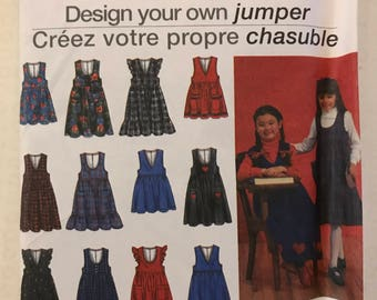 Simplicity 8638 - Girl's Jumper Collection with V or U Shaped Neckline - Size 3 4 5 6