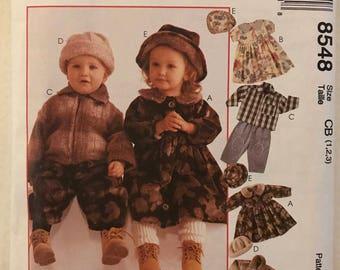 McCalls 8548 - Cozy Togs Toddler's Unlined Jacket, Dress, Pants, Cap and Hat - Size 1 2 3