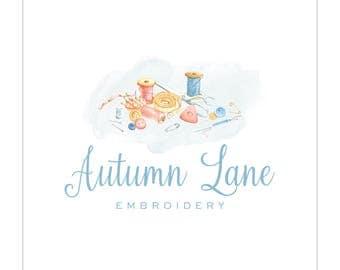 Premade Logo Design | Sewing Logo | Photography Logo | Watercolor Logo | Business Logo | Branding | Blog Logo | Feminine Logo | Quilter Logo