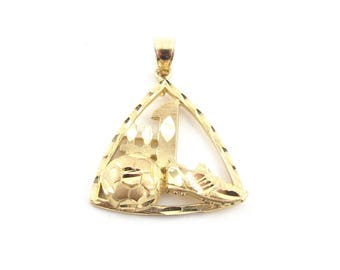 14K Yellow Gold Soccer Ball Shoe Sport Charm Pendant 3.3 grams